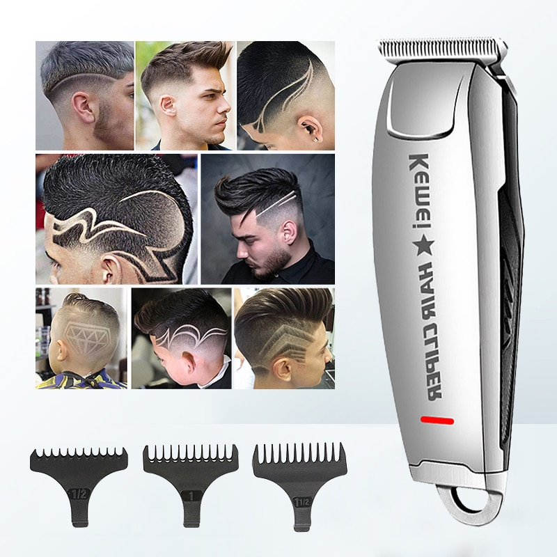 Kemei-ماكينة قص الشعر الكهربائية للرجال ، ماكينة حلاقة قابلة لإعادة الشحن ، منخفضة الضوضاء ، لقص الشعر