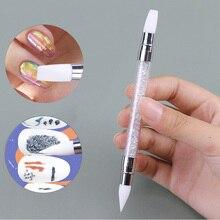 Lápiz de escultura de silicona para manicura, herramienta de punteado de doble punta con diamantes de imitación acrílicos, 1 unidad