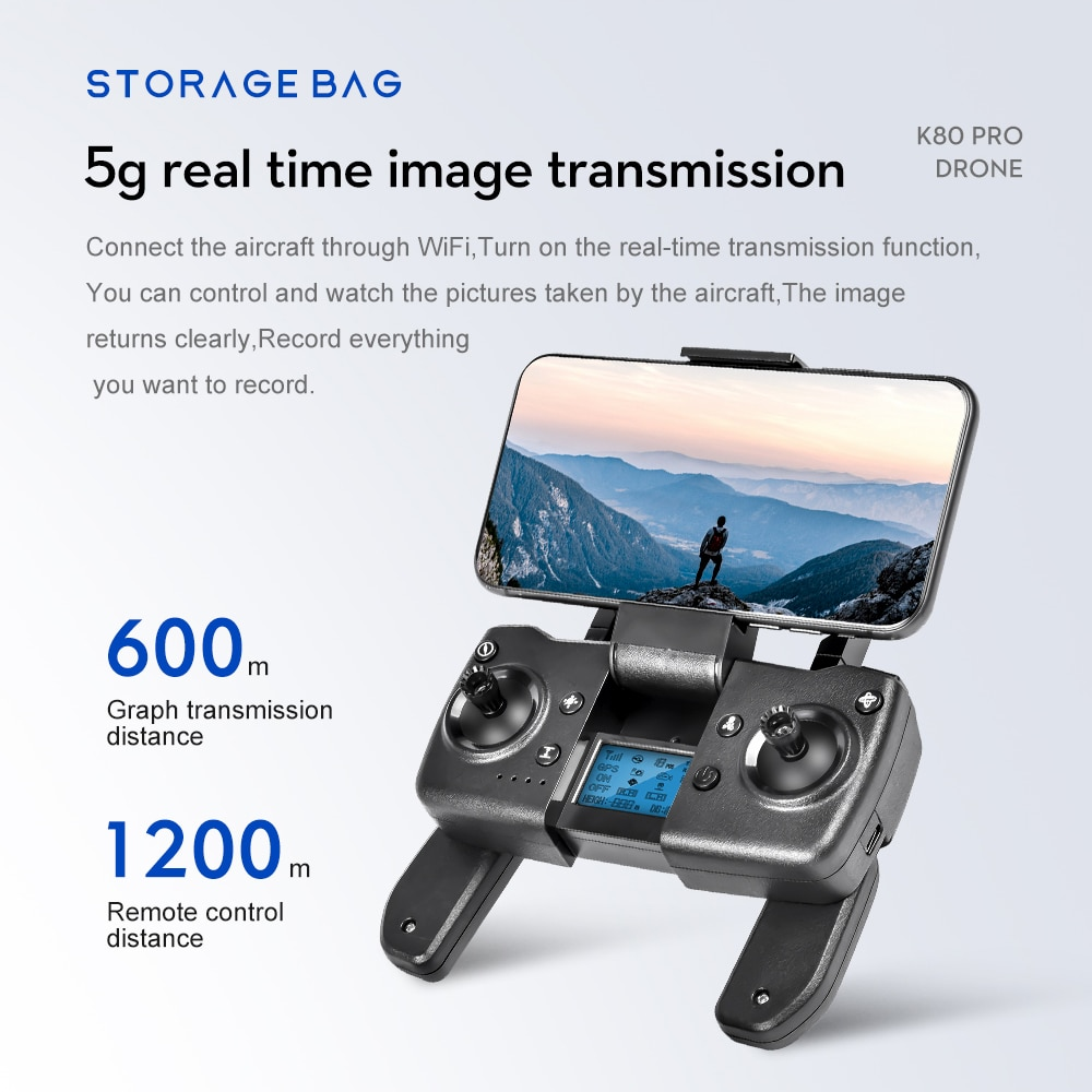 XCZJ K80 PRO GPS Drone 4K 8K Dual HD Camera Professional Aerial Photography Brushless Motor Foldable Quadcopter RC Distance1200M enlarge