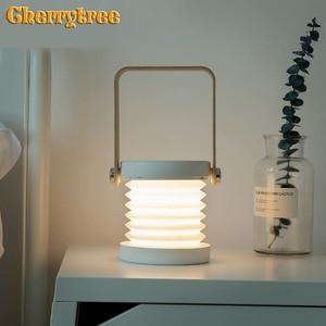 Led desk lamp Handle night light usb wooden table lamp power bank light touch switch modern night bedroom bedside art home deco