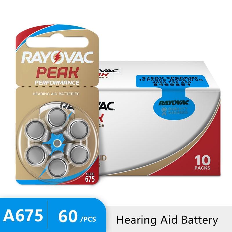 60 шт. новый воздушный слуховой аппарат, 1,45 в Rayovac пиковая батарея 675A A675 675 PR44, Бесплатная доставка! Аккумулятор слухового аппарата