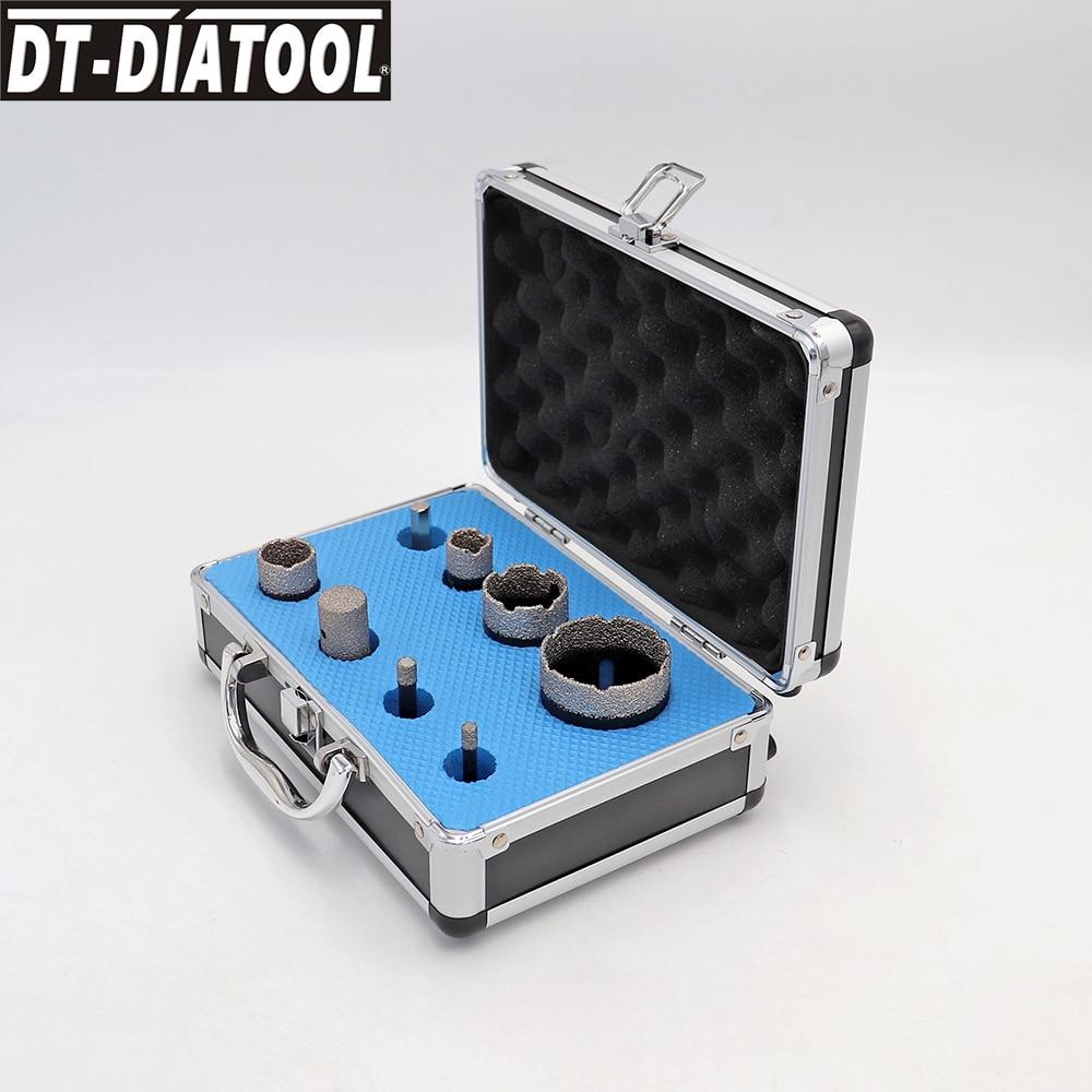 DT-DIATOOL 1set boxed 6/8/20/25/35/50mm Diamond Drilling Core Bits Sets for Porcelain Tile M14 connection Hole Saw finger bits