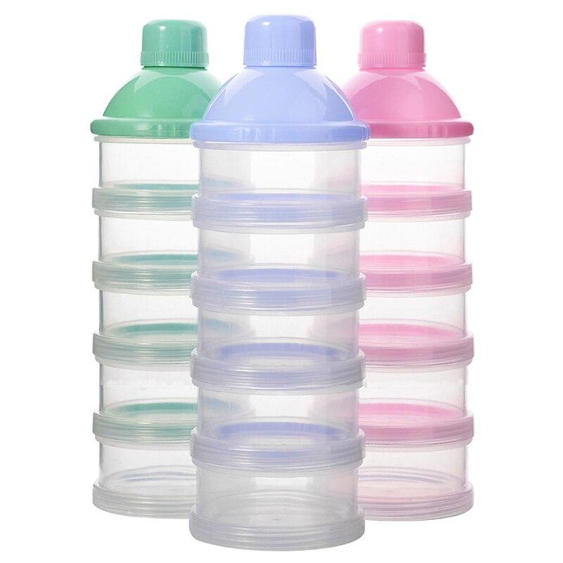 Dispensador de leche en polvo y fórmula de 5 capas, accesorios para bebés, contenedor de plástico para alimentos de cereales, caja de almacenamiento para alimentación infantil extraíble