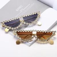 fashion cat eye clear rhinestone sunglasses women 2021 luxury designer sun glasses vintage shades eyewear oculos green pink lens