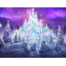 5d DIY Square Diamond Painting full round Cross Stitch Winter landscape snow castle Bear Diamond Embroidery mosaic home Decor