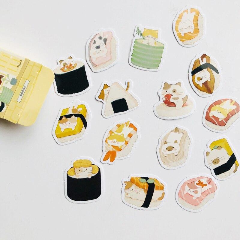 45-unids-caja-encantadora-pequeno-gato-amor-sushi-decorativo-pegatinas-cuaderno-album-decoracion-ninos-regalo