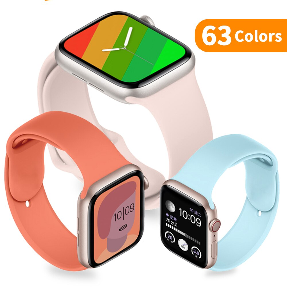 soft silicone loop strap for apple watch band 5 4 44mm 40mm bracelet wristband for iwatch series 5 4 3 2 1 42mm 38mm accessories Soft Silicone Band for Apple Watch 6 Series SE 5 4 3 2 1 44MM 40MM Rubber Watchband Strap for iWatch 4/5 42MM 38MM Bracelet