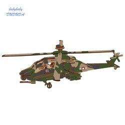 NOVA 3D Serviço de helicóptero Modelo de Aeronave De Madeira Jigsaw Puzzle brinquedo DIY Handmade Simulação Brinquedos para As Crianças De Madeira de corte a laser