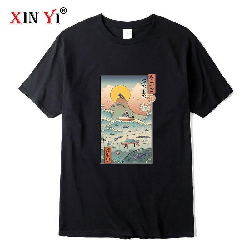 XIN YI Men's high quality t-shirt 100% cotton cool funny Anime printed T-shirt casual o-neck tshirt loose men t shirt tees tops недорого