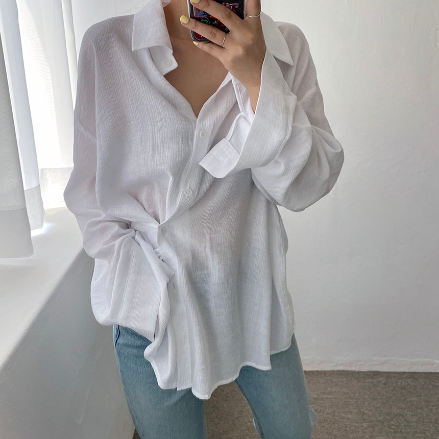HziriP Streetwear Oversize Tops Outwear Chic New OL All Match Sweet 2021 Loose Casual Stylish Office Lady Brief Shirts Clothe