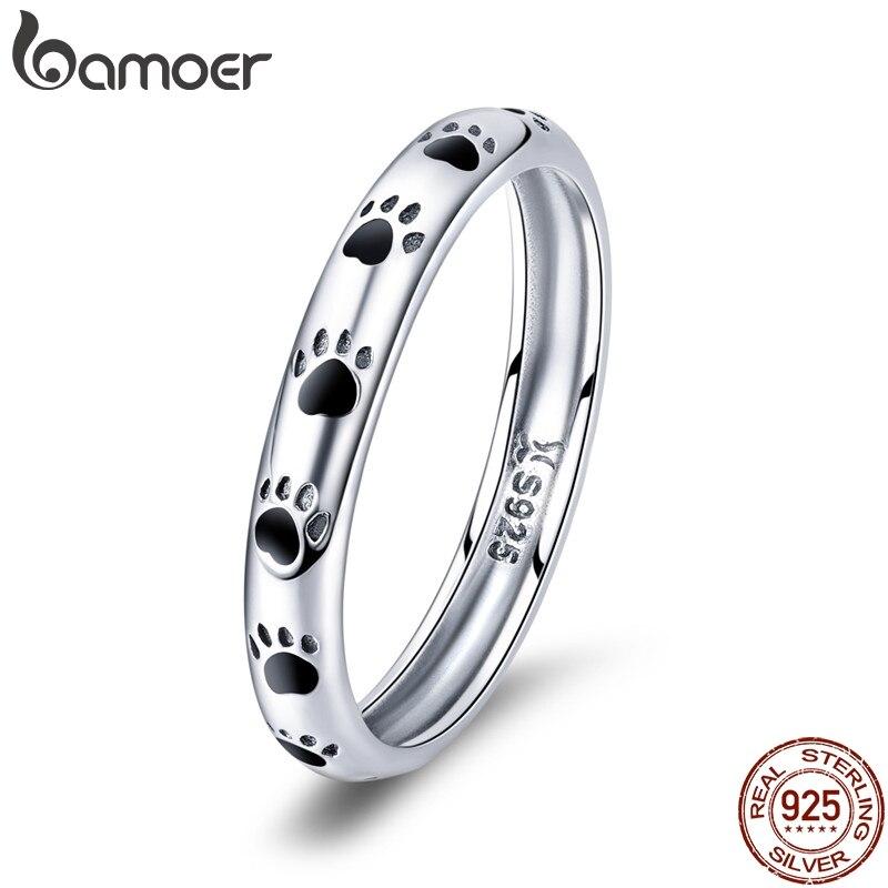 Кольцо на палец BAMOER, из стерлингового серебра 925 пробы с принтом в виде собак и кошек, Женское кольцо на свадьбу, подарок на день Святого Валентина, SCR445