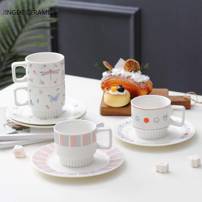 1 مجموعة الكورية نمط السيراميك كوب ماء جلب لوحة الإفطار الحليب أكواب الشاي مكتب الشاي بعد الظهر القهوة أكواب Drinkware لوازم