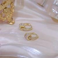 yizizai 14k real gold good luck implication earring for women high quality rotatable bling zirconia clip earring brincos