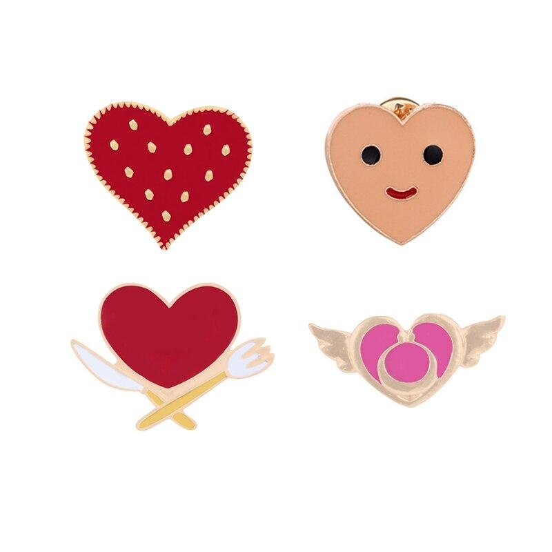 Broches de amor de dibujos animados de corazón rojo, pines esmaltados a la moda, vajilla, icono de corazón, ropa, Pin de solapa para mujeres, regalos bonitos de joyería