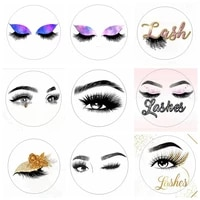 100pcsfull batch of transparent and color custom logo stickers used for 2 52 5cm eyelash tray eyelash box packaging
