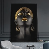 african black girls with golden headdress canvas prints and sexy woman canvas art posters paintings on the wall art pictures