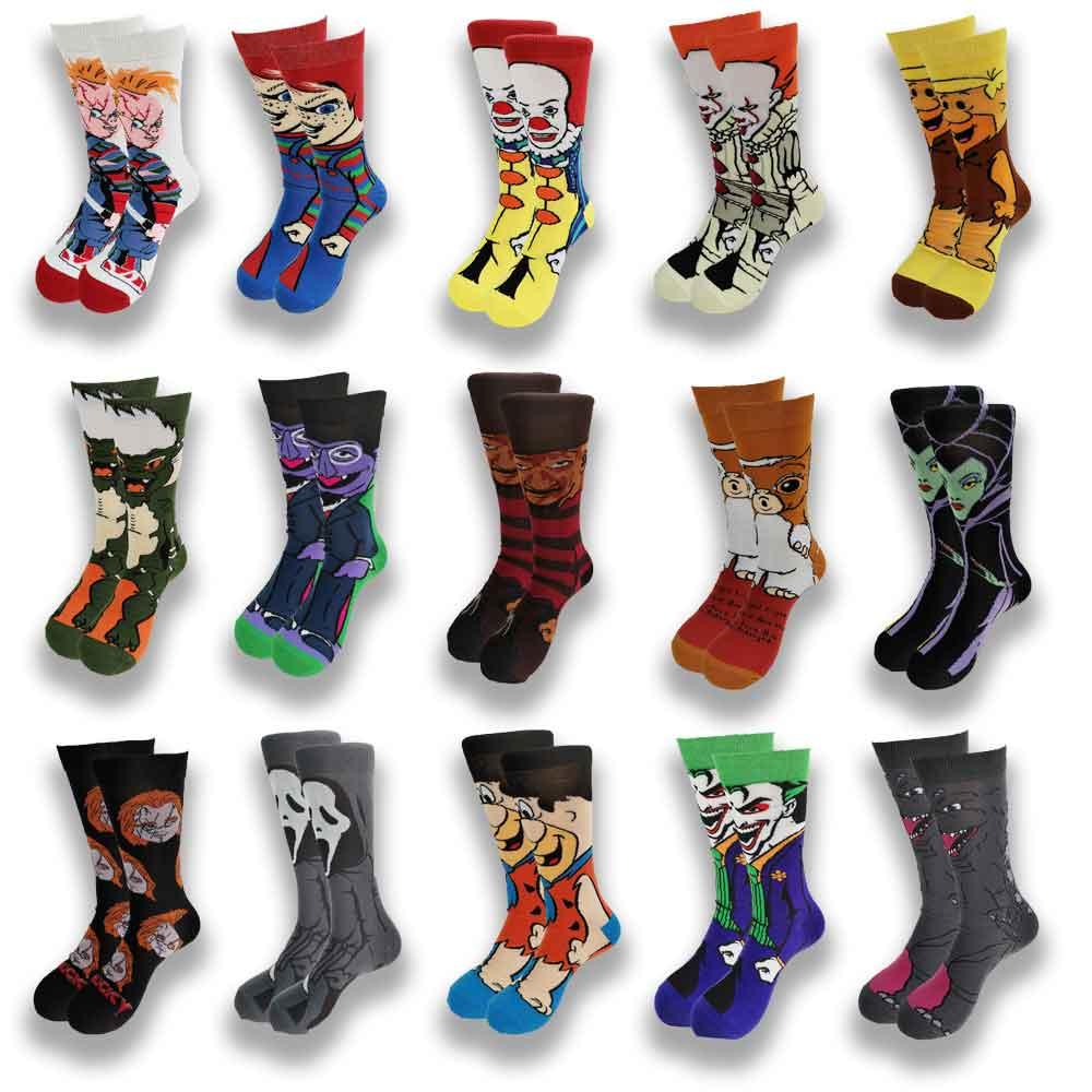 Men's socks fashion men's anime funny socks hip hop personality anime socks cartoon fashion skarpety high quality sewing pattern