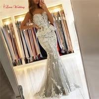 romantic mermaid evening dress 2020 new arrival applique tulle floor length elegant simple women wedding party gown