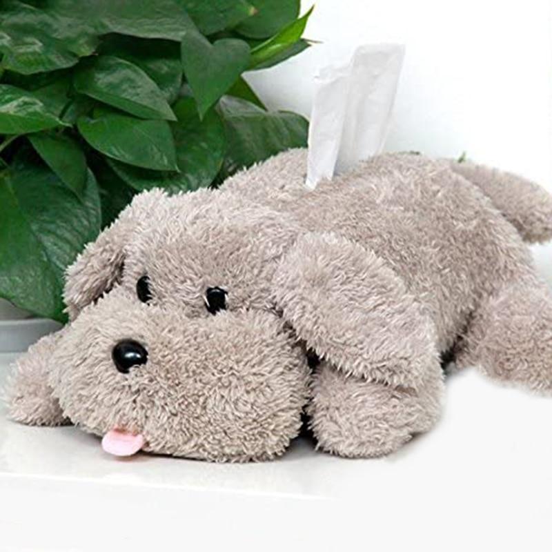 Perro de peluche de juguete titular de tejido de dibujos animados cubierta de papel titular servilleta caja de almacenamiento de papel