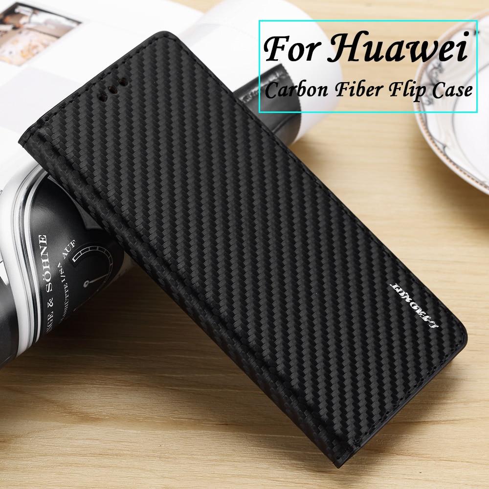 Luxus Vintage Carbon Fiber Flip Fall Für Huawei P30 Pro P20 Lite Mate 20 Lite 10 P Smart 2019 P10 p9 P8 Lite 2017 Telefon Abdeckung