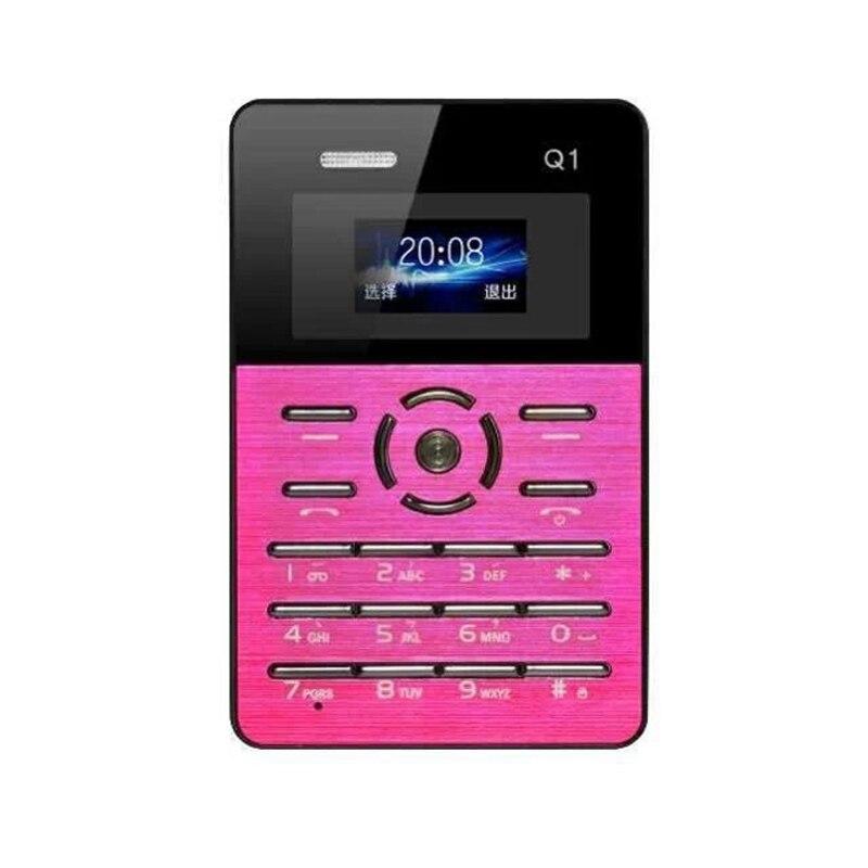 Original AEKU Q1 Ultra thin Pocket Card Children Student Mobile Phone MP3 Player FM No Camera Russian Keyboard