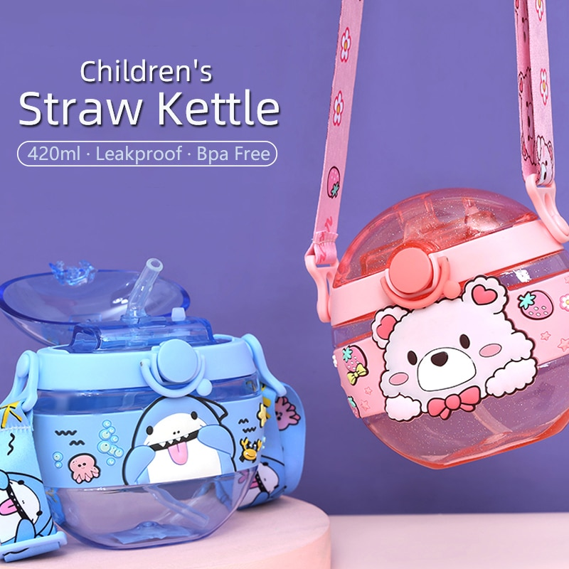 New Baby Straw Water Cup with Shoulder Strap Travel Sealed Leak-Proof Bottle Creative Cartoon Children Kettle 420ml