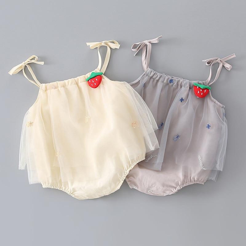 Yg Brand Children's Clothing Summer Newborn Netting Strawberry Embroidery Skirt Triangle Climbing Cl