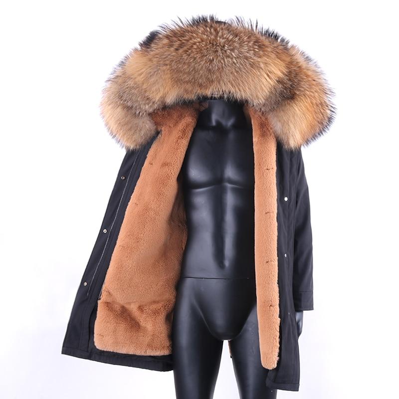 2021 New Long Parka Winter Jacket Men warm Faux Rabbit Fur Coat Natural Raccoon Fur Collar Hood Thick Warm Streetwear Outerwear