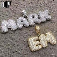Hip Hop Iced Out Blase Buchstaben Benutzerdefinierte Name Zirkon Kette Anhänger & Halsketten Für Männer Schmuck Mit Gold Kubanischen Tennis kette