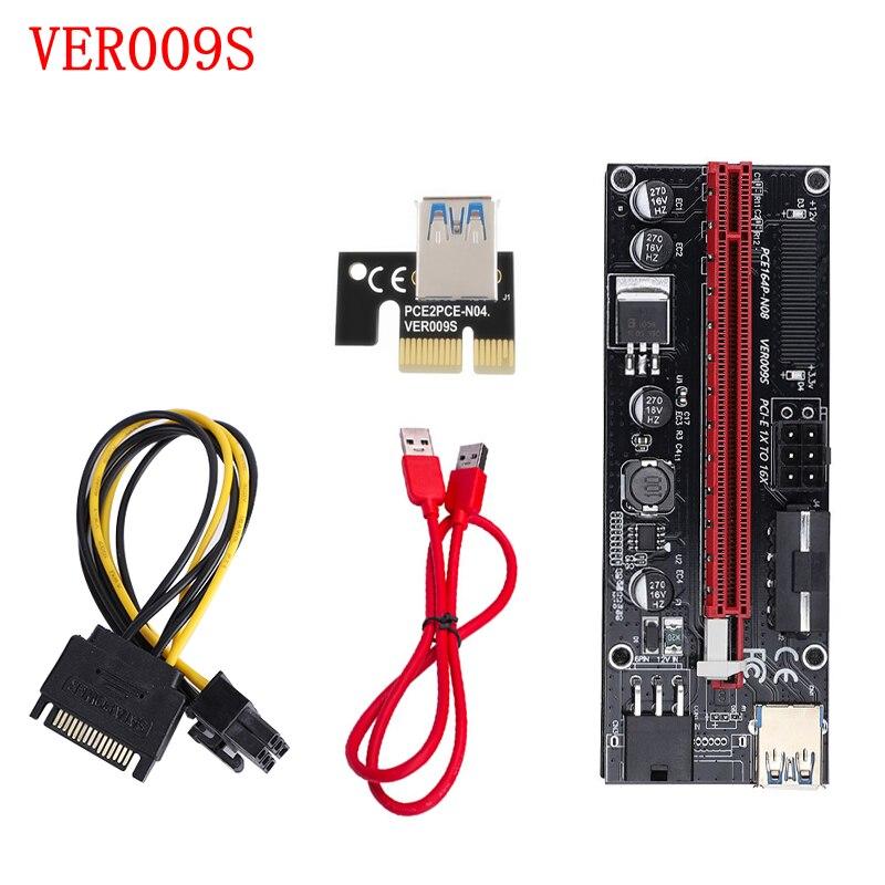 Двойной светодиодный кабель VER009S PCI-E Riser Card 009S PCI Express 1X to 16X удлинитель USB3.0 с 6-контактным интерфейсом для майнинга биткойнов