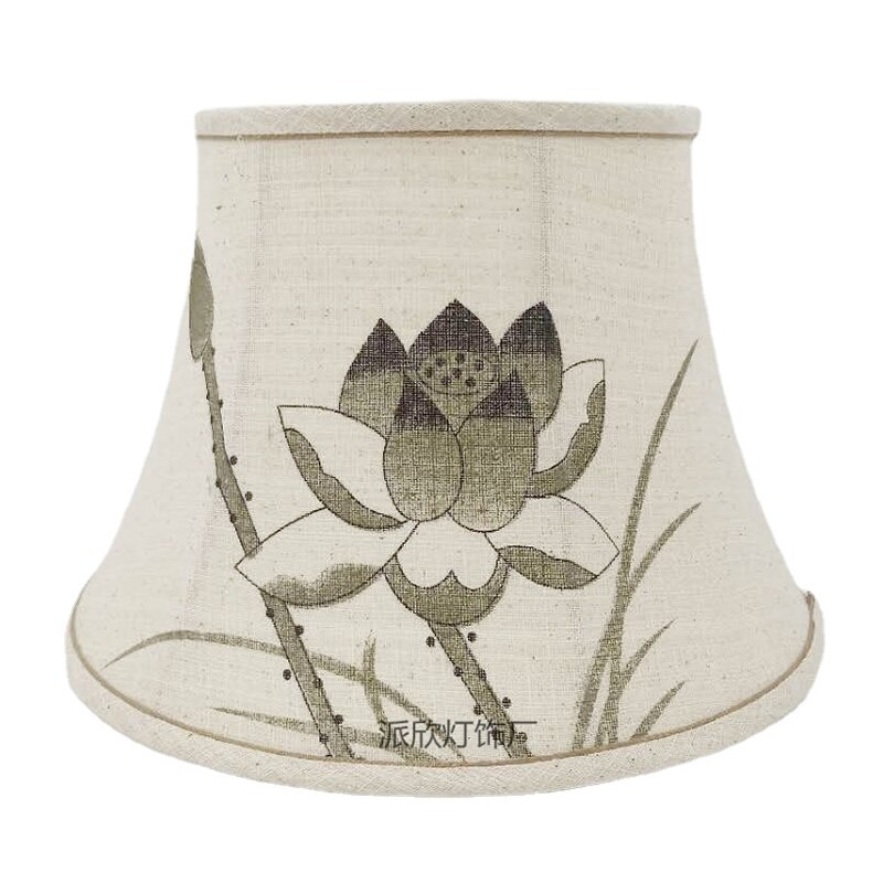 Chinese Lampshade Lotus Landscape Painting Lampshade Shell Cover For Table Lamp Floor Lamp Fabric Cover Creative DIY Accessories enlarge