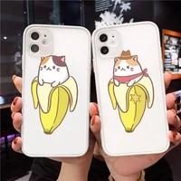 cute cartoon finger funny banana phone case matte transparent for iphone 7 8 11 12 s mini pro x xs xr max plus cover funda