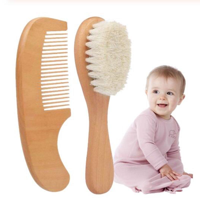 2020 Natural Wool New Baby Wooden Brush Saft Comb Newborn Hair Brush Infant Head Massager