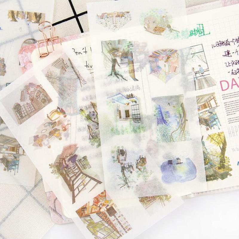 Washi Sticker Green Life Series Decoracion Scrapbook pegatinas de papel DIY Oficina papelería suministros escolares 6 hojas/bolsa
