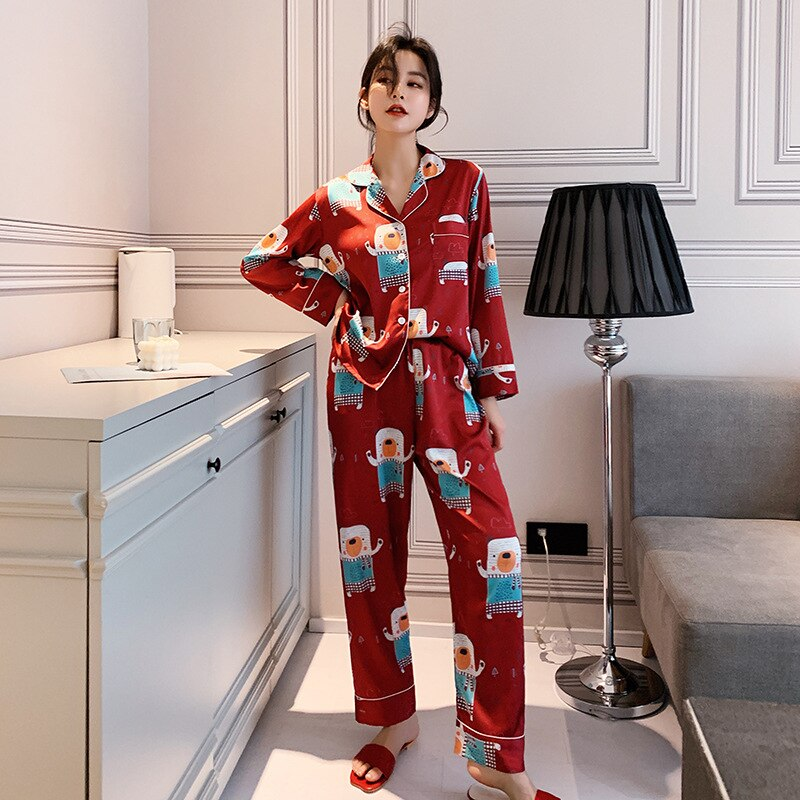 New Silk Pyjamas Women Print Pajamas Loose Satin Women Pijamas Two Piece Autumn Summer Long Sleeve Lounge Sleepwear