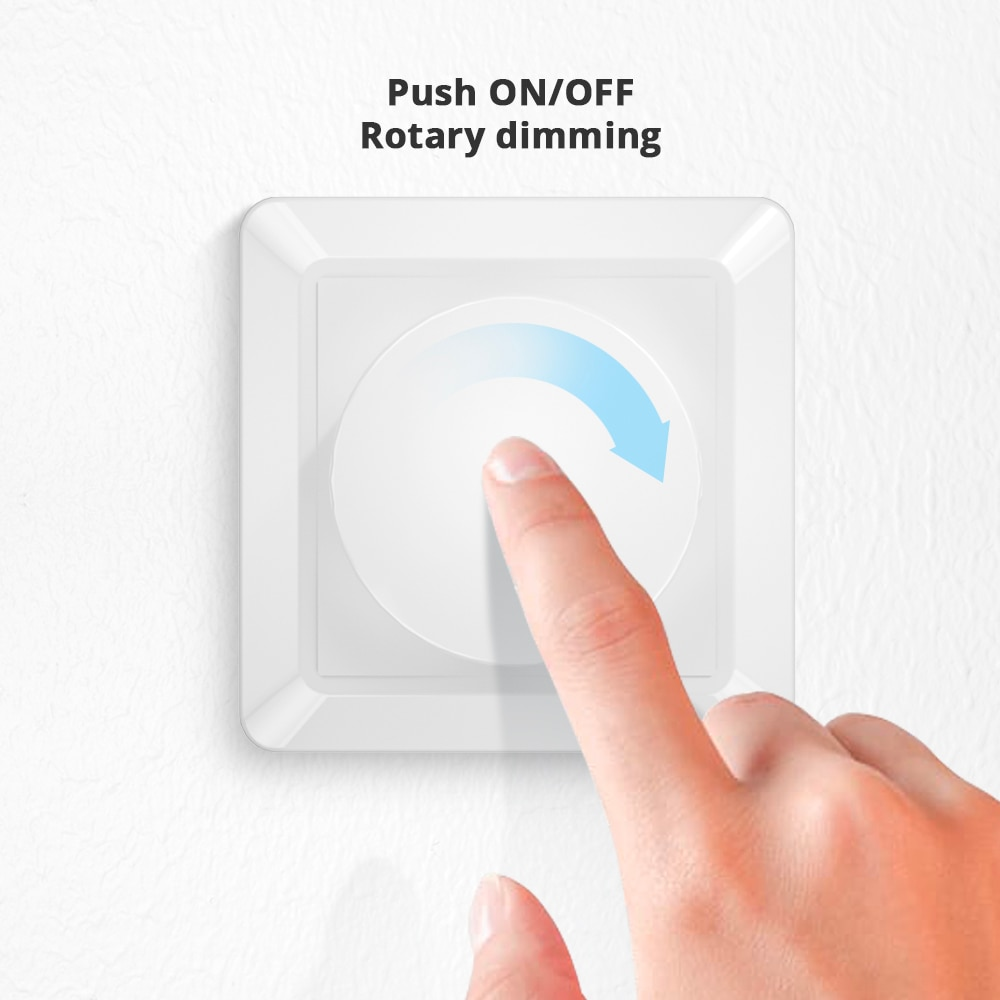 EU Standard Trailing Edge Wall Rotary Dimmer Switch AC 220~240V 5W~150W For LED Lights