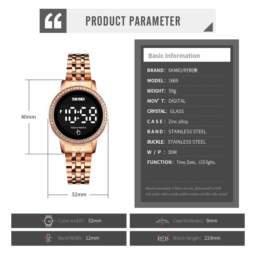 SKMEI Luxury Rhinestone Ladies Digital Wristwatches LED Touch Screen Women Watch Waterproof Female Clock Relogio Feminino 1669 enlarge