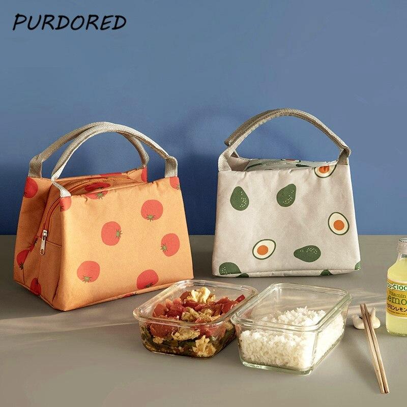 Bolsa de comida con contenedor de frutas de Color sólido, bolsa de almuerzo de mujeres, bolsas térmicas con aislamiento, bolsa de almuerzo para niños, Termo, 1 unidad