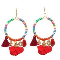 brincos boho soft pottery drop earrings fashion earring jewelry long dangle flower tassel earring charm jewelry wedding earring