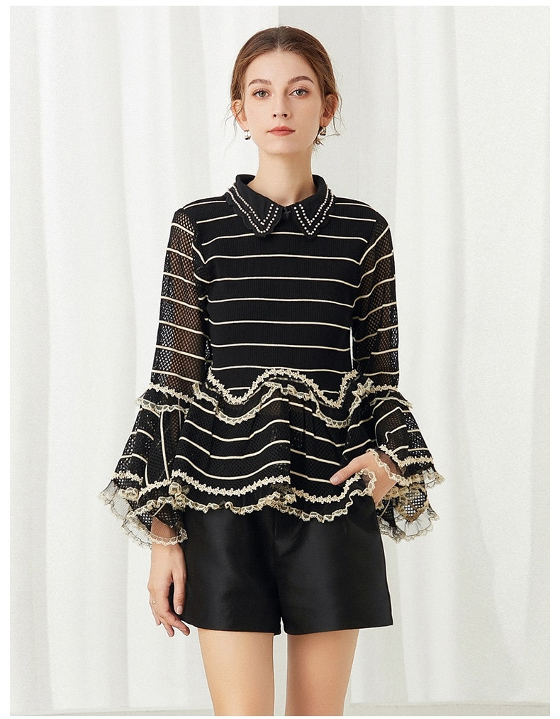 Sweaters & Pullovers 2021 Autumn Winter Fashion Tops Women Turn-down Collar Beading Lace Patchwork Flare Sleeve Knitted Jumpers enlarge