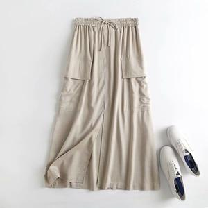 Summer New Linen Skirt Fashion Big Pocket Tooling Skirt Big Skirt Cotton Hemp Skirt