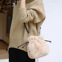 new arrive autumn and winter womens plush handbags drawstring bucket bags casual shoulder bags crossbody bags for women