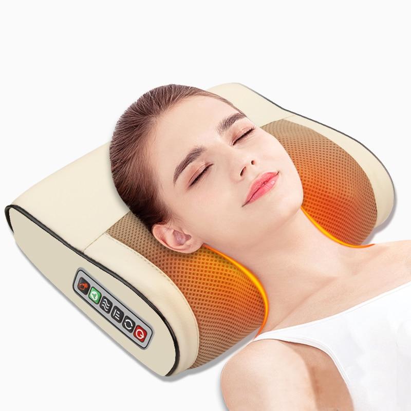 Cojín de masaje eléctrico con calor por infrarrojos, masajeador para alivio del dolor Shiatsu para cuello, espalda, cabeza y cuerpo