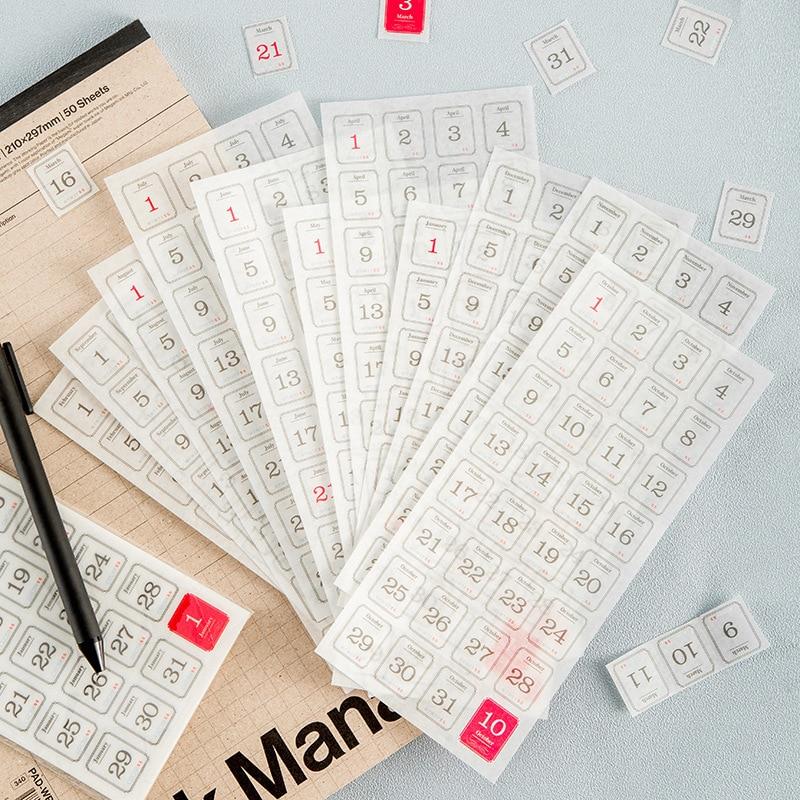 12pcs/pack Agenda plan calendar date Decoration Stickers DIY Planner Diary Scarpbooking Index Lable Sticker