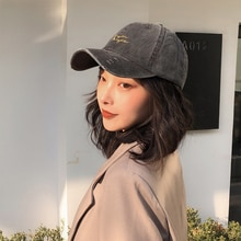 Korean Style Ins Hat Women's Retro Distressed Industrial Style Peaked Cap Washed Letters Street Base