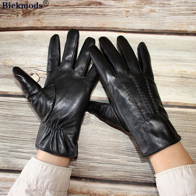 Перчатки мужские из овечьей кожи, тонкие кожаные перчатки с вискозной подкладкой, для путешествий, вождения, осени и весны