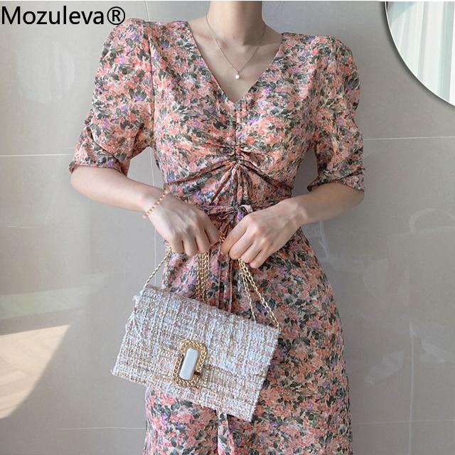 Mozulev 2020 Vintage Floral Print Women A-line Dress Short Sleeve Bellflower Dress Summer Chiffon Long Dress Female Vestidos