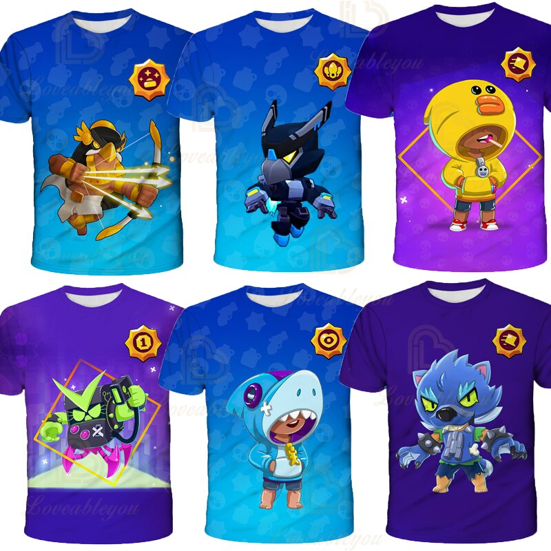 Camiseta de Juego de tirador de Brawls para niños, Camiseta con estampado 3D De Leon Spike Colt, camisetas para niños y niñas, camiseta de estrella de dibujos animados Browl, ropa para adolescentes, regalo
