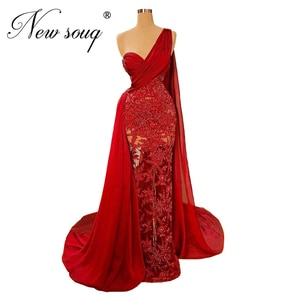 Saudi Arabia One Shoulder Party Gown 2020 Custom Dubai Evening Dresses With Beaded Women Prom Gown For Turkish Robe De Soiree