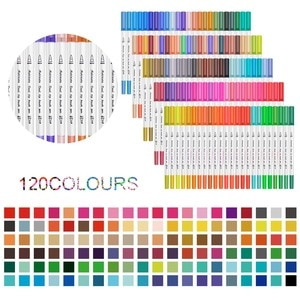120 Pcs Watercolor Brush Markers Calligraphy Pen For Office & School Supplies and Stationery for Artists and Painting Beginners